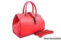 Стильная женская сумка Yves Saint Laurent кожаная цвет красный