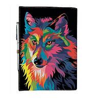 Блокнот на резинке Rainbow Разноцветный волк А5