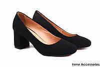 Туфли женские Badura натуральный замш черные (стильные, каблук, удобная колодка)