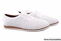 Туфли летние женские Donna Ricco комфорт натуральная кожа, цвет белый (слипоны, мокасины, платформа, Турция)