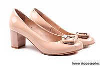 Элегантные туфли женские Foletti натуральная лаковая кожа, цвет беж (каблук, удобная колодка,  Украина)