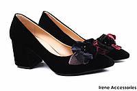 Туфли женские Lottini бархат цвет черный, декор цветы (изысканные, удобная колодка, каблук, Турция)