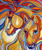 Схема для вышивки бисером Пара лошадей