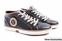 Стильные ботинки мужские Konors демисезонные натуральная кожа (кроссовки мужские, комфорт, черные, Украина)