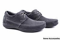 Туфли мужские Konors нубук темно-серые (мокасины мужские, комфорт, темно-серый, Украина)