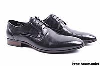 Туфли мужские классические Basconi натуральная кожа черные (мокасины мужские, комфорт, шнуровка)