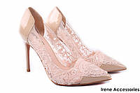 Элегантные туфли женские Basconi лаковая кожа, беж (изысканные, удобная колодка, шпилька)