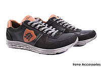 Туфли/кроссовки мужские Konors натуральная кожа + нубук черные (мокасины мужские, комфорт, платформа, Украина)