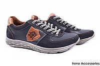 Туфли/кроссовки мужские Konors натуральная кожа + нубук синие (мокасины мужские, комфорт, платформа, Украина)