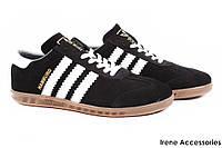 Кроссовки мужские Adidas натуральный замш черные с белыми полосками (мокасины, комфорт, реплика, Украина)