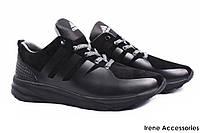 Кроссовки мужские Adidas натуральный замш черные (мокасины мужские, комфорт, реплика, Украина)