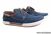 Мужские стильные туфли Timberlend нубук цвет синий (мокасины мужские, комфорт, платформа)