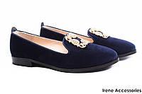 Туфли лоферы женские Tucino бархат, цвет синий (комфорт, каблук, Турция)