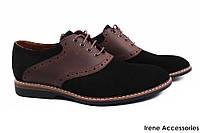 Модельные туфли мужские Tonkelli замш + натуральная кожа, цвет черный + коричневый (комфорт, каблук, Украина)