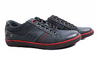 Туфли мужские MazAro нубук, цвет синий (мокасины, шнурок, платформа, комфорт)