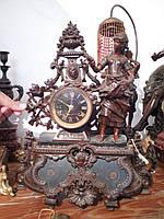 """Старинные каминные часы """"Крестьянка"""" работы  MOREAU - Франция, 19 век"""