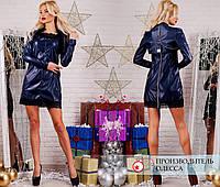 Платье кожа с болеро R-7125 синий