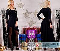 Платье в пол отделка кружево R-7130 черный