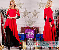 Платье в пол отделка кружево R-7131 красный