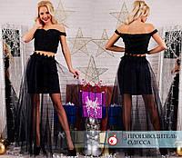 Костюм с фатиновой юбкой R-7160 черный