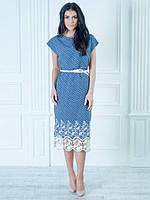 Нарядное платье под пояс с цветочным принтом и кружевом