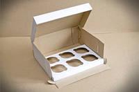 Коробка для капкейков белая, на 6 шт, микрогофрокартон