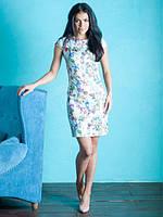 Жаккардовое короткое платье белого цвета с цветочным принтом