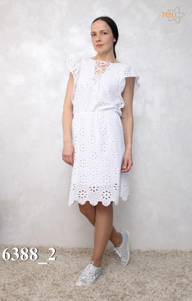 Платье Modna KAZKA   белое летнее из прошвы 6388-2