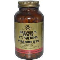Solgar, Пивные дрожжи, зерна 7 1/2, с витамином В12, 250 таб, Brewer's Yeast, 7 1/2 Grains, with Vitamin B12