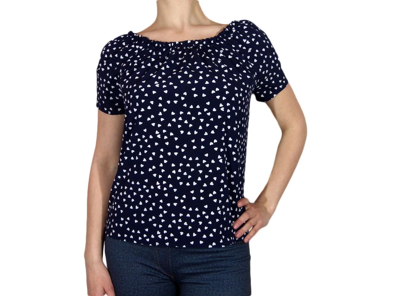 """Женская блузка с коротким рукавом и сборкой тм """"Tasani"""" темно - синяя с сердечками"""