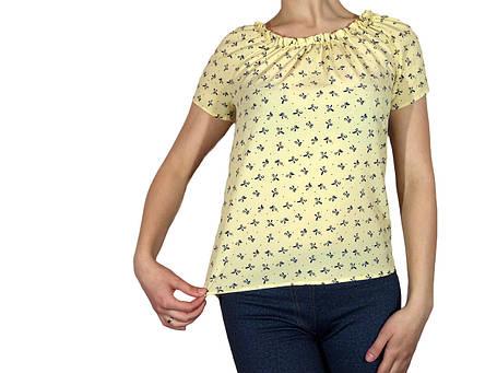 """Женская блузка с коротким рукавом и сборкой тм """"Tasani"""" желтая с бантиками, фото 2"""