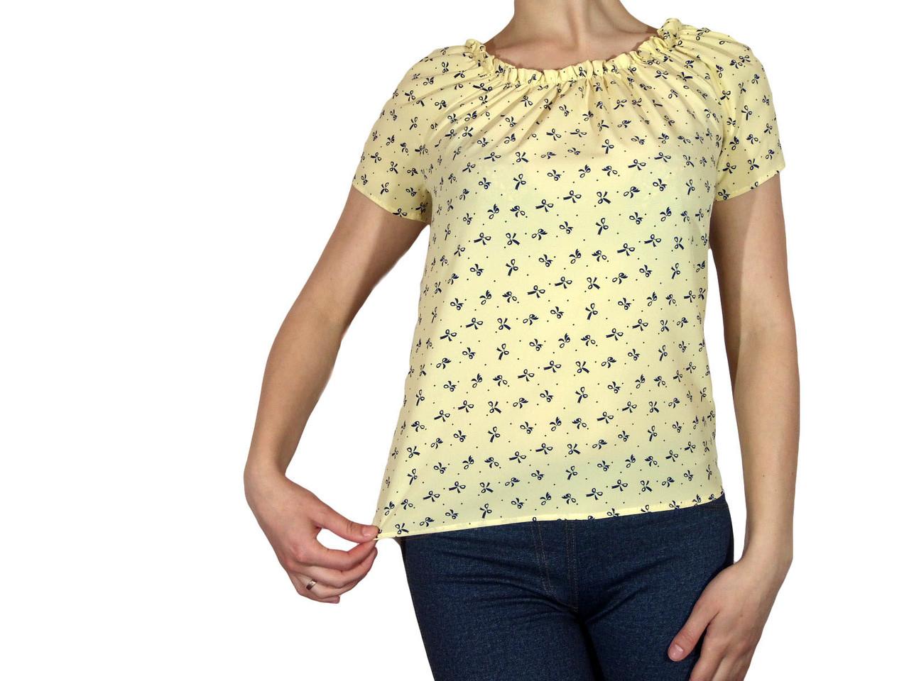 """Жіноча блузка з коротким рукавом і складанням тм """"Tasani"""" жовта з бантиками"""
