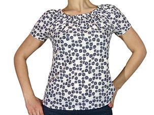 """Женская блузка с коротким рукавом и сборкой тм """"Tasani"""" белая +цветочный принт, фото 2"""