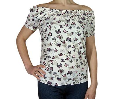"""Женская блузка с коротким рукавом и сборкой тм """"Tasani"""" айвори с бабочками, фото 2"""