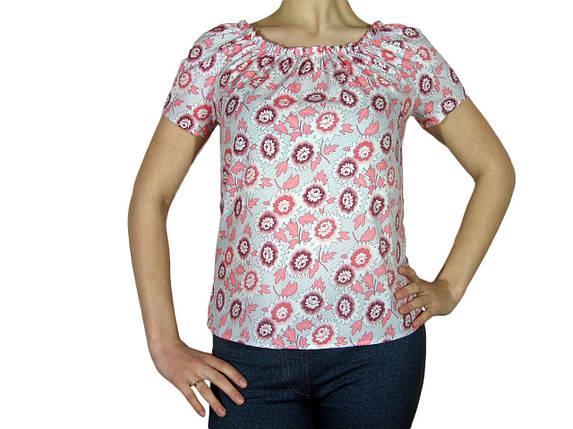 """Женская блузка с коротким рукавом и сборкой тм """"Tasani"""" белая + цветочный принт, фото 2"""