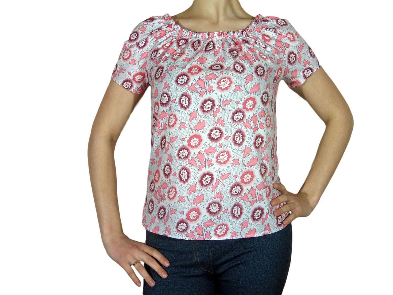 """Женская блузка с коротким рукавом и сборкой тм """"Tasani"""" белая + цветочный принт"""
