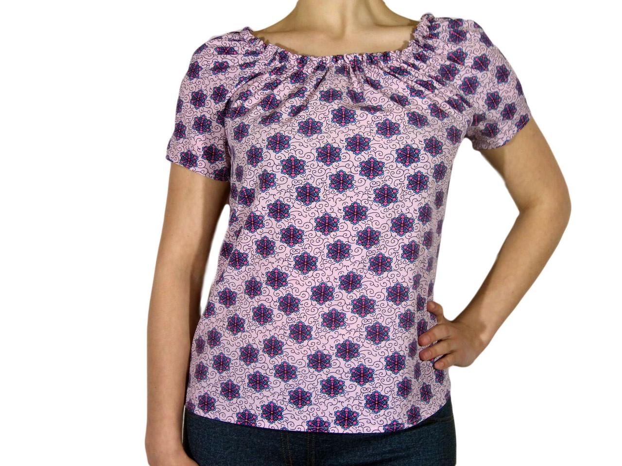 """Женская блузка с коротким рукавом и сборкой тм """"Tasani"""" розовая+цветочный принт"""
