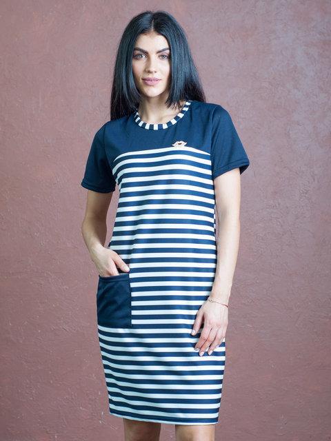 be14bc6f01e Модное синее платье в полоску свободного кроя - купить по лучшей ...