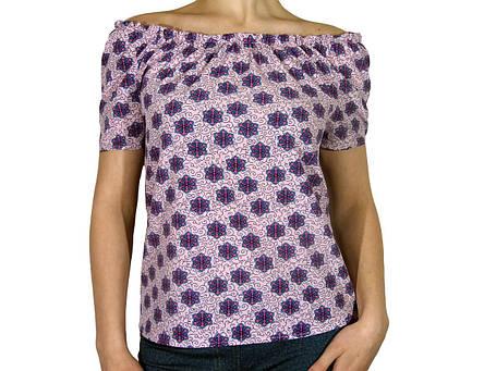 """Женская блузка с коротким рукавом и сборкой тм """"Tasani"""" розовая+цветочный принт, фото 2"""