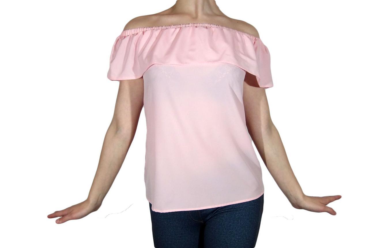 """Женская блузка с воланом и сборкой на плечах тм """"Tasani"""" розовая пастель"""