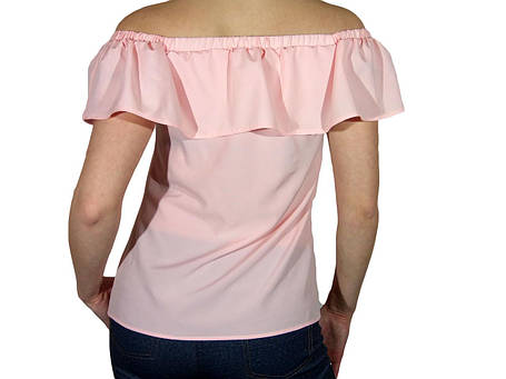 """Женская блузка с воланом и сборкой на плечах тм """"Tasani"""" розовая пастель, фото 2"""