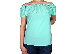 """Женская блузка с воланом и сборкой на плечах тм """"Tasani"""" сочная мята, фото 2"""