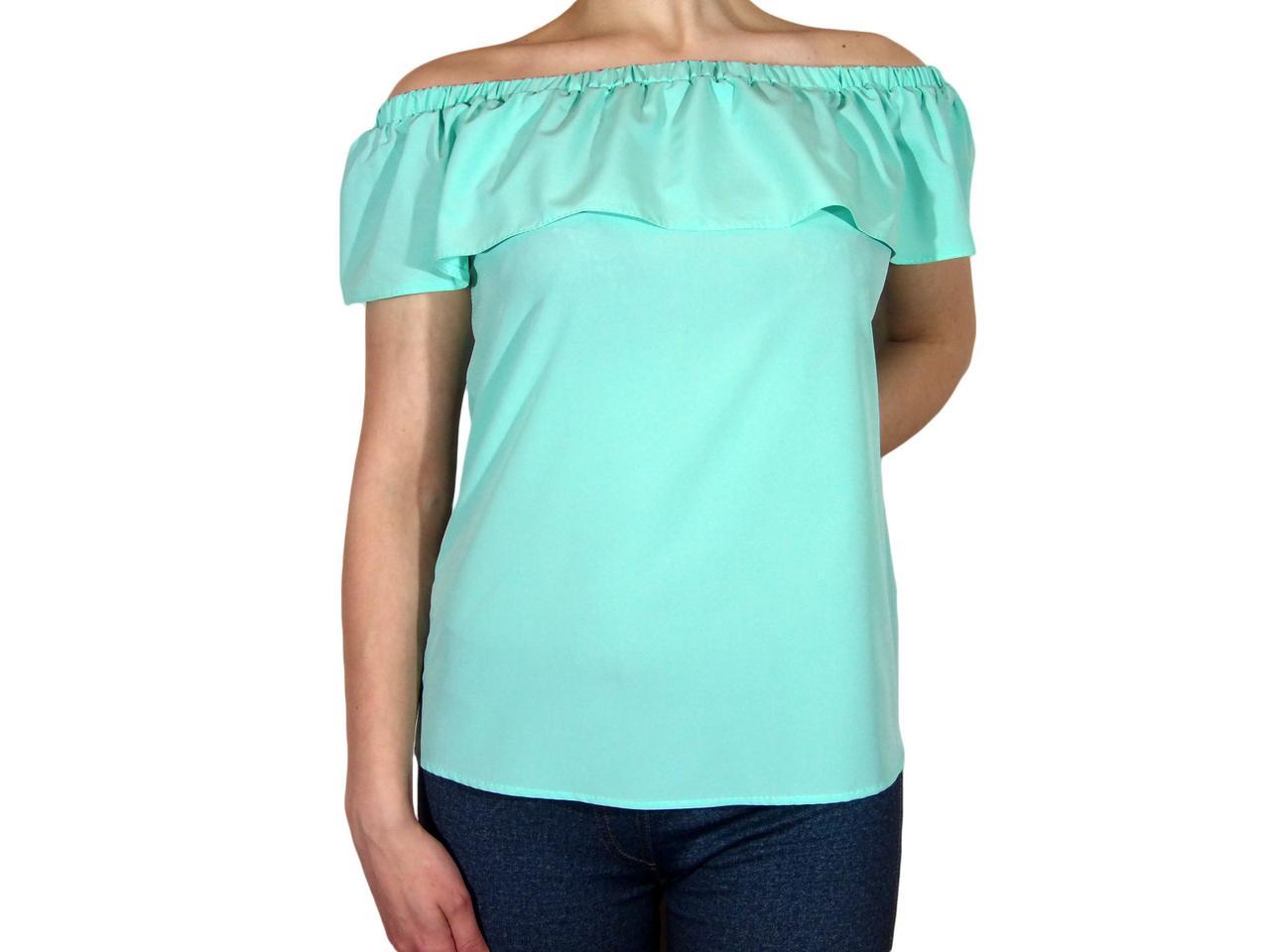 """Женская блузка с воланом и сборкой на плечах тм """"Tasani"""" сочная мята"""