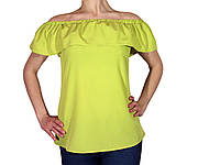 """Женская блузка с воланом и сборкой на плечах тм """"Tasani"""" яркий горох"""