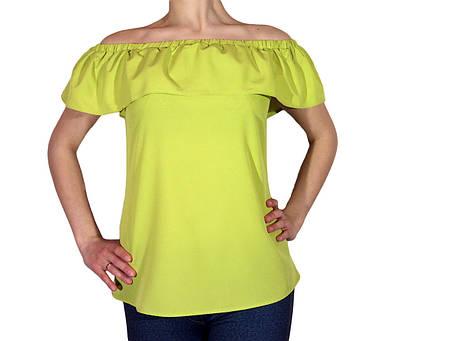 """Женская блузка с воланом и сборкой на плечах тм """"Tasani"""" яркий горох, фото 2"""