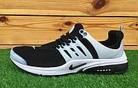 Кроссовки мужские летние сетка Nike Air Presto Black\White (найк аир престо) (реплика)
