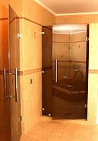 Душевая перегородка стеклянная фронтальная из бронзового стекла (крепление двери на стену)