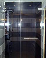 Душевая перегородка фронтальная из серого стекла (крепление двери на стену)