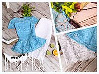 Блузка голубая из гипюра с баской
