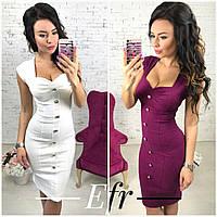 Облегающее платье с пуговицами и красивым декольте в расцветках S-M M-L
